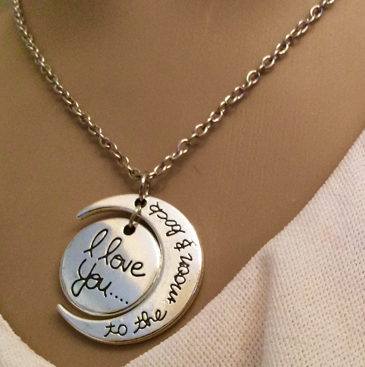 Necklace i love you to the moon and back alert me bands the circle pendant is engraved with i love you and sits perfectly inside the crescent moon pendant engraved with to the moon and back mozeypictures Images